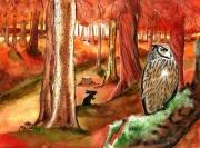 tableau paysages lapin flamboyant hibou conte : Une fable d'automne