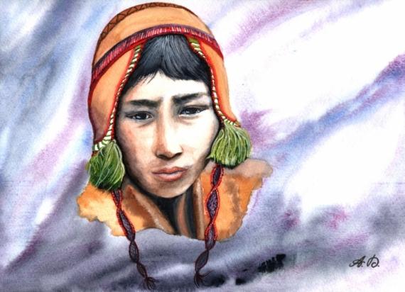 TABLEAU PEINTURE quechua Péruvien portrait bonnet Personnages Aquarelle  - Indien Quechua