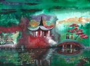 tableau paysages japon eau surrealisme temple : Nuances printanières au Japon