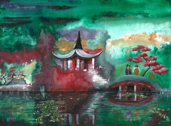PAINTING Japon eau surréalisme temple Paysages Aquarelle  - Nuances printanières au Japon