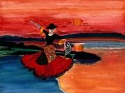 tableau personnages danseuse eau espagne lune : Balade au crépuscule en Andalousie