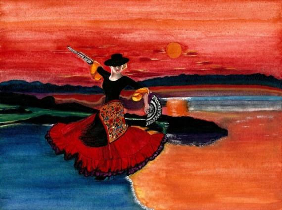 TABLEAU PEINTURE danseuse eau Espagne lune Personnages Aquarelle  - Balade au crépuscule en Andalousie