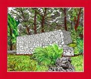 tableau paysages cabanon provence pierre arbres : Vieux cabanon dans la garrigue