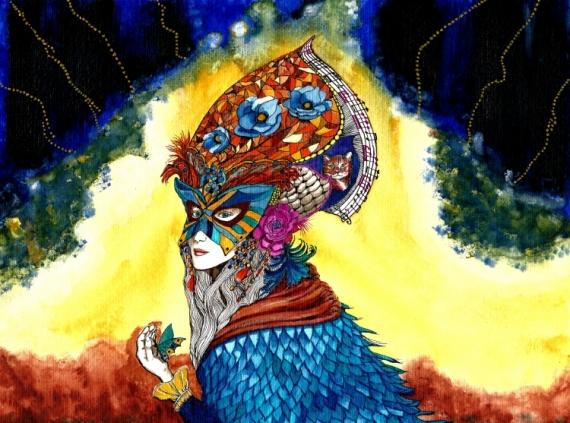 TABLEAU PEINTURE carnaval masque opéra multicolore Personnages Aquarelle  - La musique des couleurs