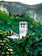 tableau paysages abbaye pyrenees catalanes patrimoine : L'abbaye Saint-Martin-du-Canigou