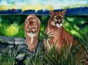 tableau animaux puma sauvage andes figuratif : Les pumas