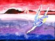 tableau autres volcan symbole nuages danseuse : Le volcan et la danseuse