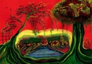tableau paysages illustration poesie chinois rouge : Un songe vers l'ancienne Chine