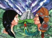 tableau personnages maya guatemala portrait quetzal : Couple Maya