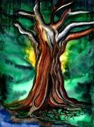 tableau paysages racine arbre terre surrealisme : A l'ombre du vieil arbre