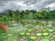 tableau paysages asie nenuphar indonesie tigre : En Indonésie, les mangroves de Sumatra