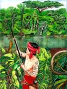 tableau personnages dayak indonesie fleuve borneo : Indonésie : en territoire Dayak