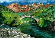 tableau architecture corsica riviere gorges montagne : Pont génois en Corse