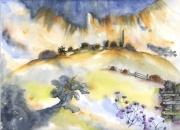 tableau paysages colline onirique village souvenir : Sur la colline
