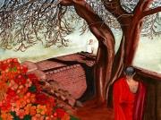 tableau paysages sri lanka bouddhisme rouge culture : Méditation au Sri Lanka