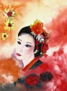 tableau personnages japon portrait geisha culture : Une geisha