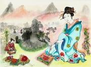 tableau personnages japon geisha couleurs pinceaux : Une île secrète