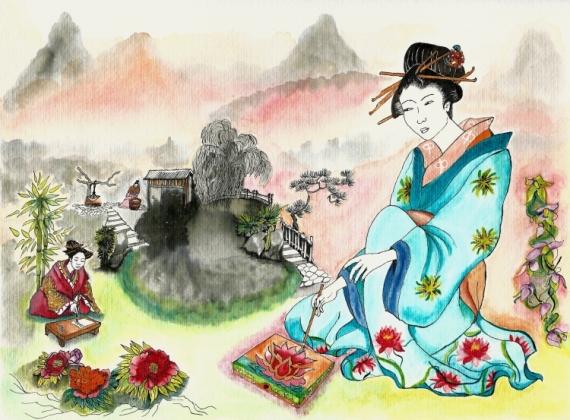 TABLEAU PEINTURE japon geisha couleurs pinceaux Personnages Encre de Chine  - Une île secrète