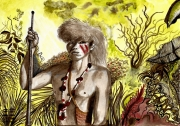 tableau personnages amerindien perou rituels amerique latine : Indien Yagua
