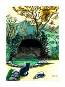 tableau paysages chat lune nuit pont : Le chat a rendez-vous avec la lune