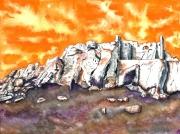tableau paysages provence crepuscule ruines alpilles : Les Baux de Provence au crépuscule