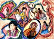 tableau personnages maya guatemala femme figuratif : Guatémala