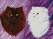 tableau animaux felin deux yeux persan race : Duo de chats : petites âmes blanche et noire