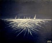 tableau marine bretagne marine bateaux nuit : Nuit à Raguenes