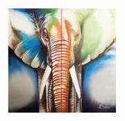 tableau animaux elephant imposant couleurs deux parties : L'elephant