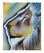 tableau animaux lion penseur couleurs roi de la jungle : Le lion