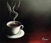 tableau autres tasse ,a cafe table en bois fumee fond noir : le coin café