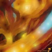 art numerique abstrait arbre soleil chemin sable d or : SABLE D'OR