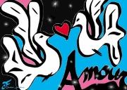 art numerique autres colombes duo coeur amour : DUO DE COLOMBES