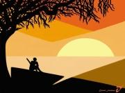 art numerique paysages africain arbre soleil contemplation : CONTEMPLATION