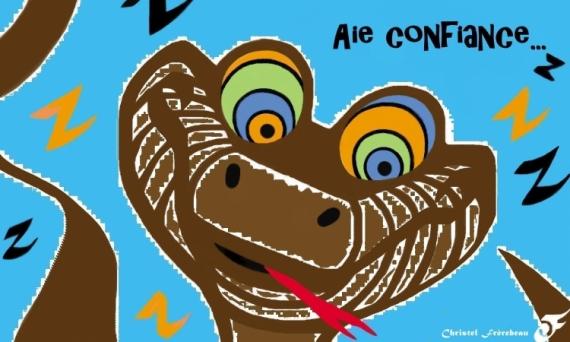 ART NUMéRIQUE CONFIANCE/HYPNOSE KAA/PYTHON LIVRE DE LA JUNGLE SERPENT ANTIQUE  - LA CONFIANCE