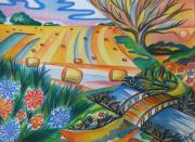 dessin paysages champs meules pont fleurs : SILENCE DES SOUVENIRS
