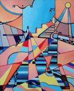 tableau abstrait phare soleil escalier digue : LE TRÉPORT