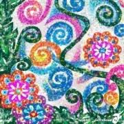 art numerique fleurs fleurs feuilles spirales ephemere : POUSSIÈRE D'ÉTÉ