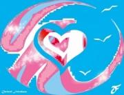 art numerique abstrait coeur marie amour ciel : COEUR DE MARIE