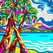 art numerique paysages tahiti ile palmiers ocean pacifique : TAHITI