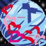 art numerique autres jesus amour chaine de coeurs planete bleue : CHAÎNE D'AMOUR