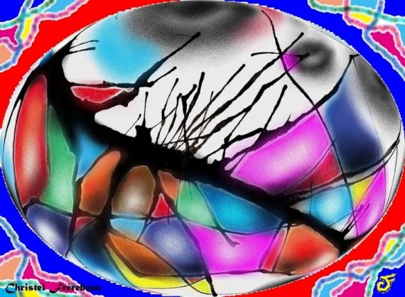 MIXTE VISION ONIRISME COULEURS FETE Abstrait  - VISION ONIRIQUE BIGARRÉE