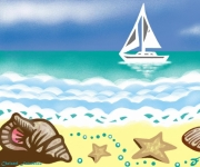 digital art marine mer bateau coquillages plage : POÈME DE COQUILLAGES