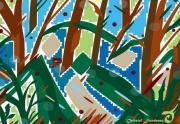 art numerique abstrait marronniers arbres sousbois paysage : MARRONNIERS