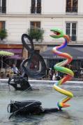 photo paysages fontaine stravinsky clef de sol serpent paris : LE SERPENT ET LA CLEF DE SOL