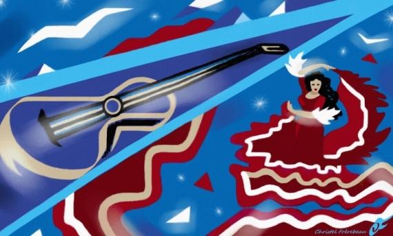 ART NUMéRIQUE S'ENVOLER GIPSY KINGS CHANSON DANSE Personnages  - S'ENVOLER