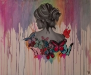 tableau personnages papillons aquarelle femme : Butterfly women