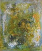 tableau abstrait abstrait orange vert blanc : Saisons