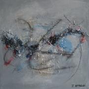 tableau abstrait abstrait gris noir bleu : Déclin