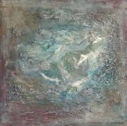 tableau abstrait abstrait turquoise marron blanc : Félicité
